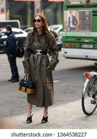 Milan, Italy - February 22, 2019: Street style outfits during Milan Fashion Week - - MFW19/20