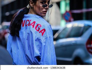 MILAN, Italy- February 22 2019: Tamara Kalinic on the street during the Milan Fashion Week.