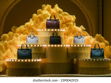 Milan, Italy – February 22, 2019:  Eclectic display of Gucci handbags in a store in Milan, February 2019.