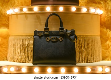 Milan, Italy - February 22, 2019:  Gucci leather handbag in a luxury store in Milan, February 2019.