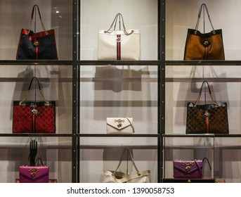 Milan, Italy – February 22, 2019:  Gucci handbags in a luxury store in Milan, February 2019.