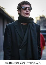 MILAN, Italy- February 22 2020: Giovanni Dario Laudicina on the street in Milan.