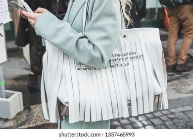 MILAN, ITALY - FEBRUARY 22: Detail of bag outside Blumarine fashion show during Milan Women's Fashion Week on FEBRUARY 22, 2019 in Milan.