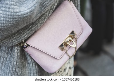 MILAN, ITALY - FEBRUARY 22: Detail of bag outside Blumarine fashion show during Milan Women's Fashion Week on FEBRUARY 22, 2019 in Milan.