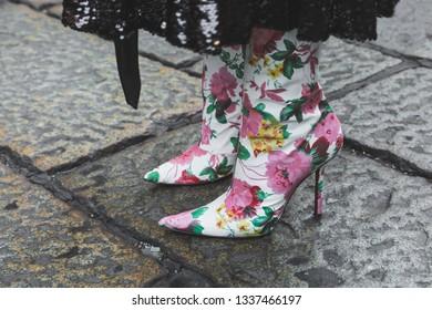MILAN, ITALY - FEBRUARY 22: Detail of shoes outside Blumarine fashion show during Milan Women's Fashion Week on FEBRUARY 22, 2019 in Milan.