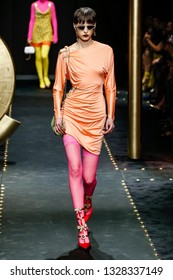 MILAN, ITALY - FEBRUARY 22: Sara Soric walks the runway at the Versace show at Milan Fashion Week Autumn/Winter 2019/20 on February 22, 2019 in Milan, Italy.