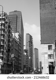 MILAN, ITALY - FEBRUARY 23, 2014: The new skyscrapers in the large regeneration area of Porta Nuova are designed by major local and international architetects