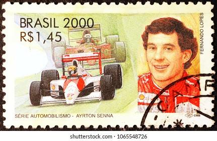 Milan, Italy - February 23, 2017: Brazilian Formula 1 driver Ayrton Senna on postage stamp