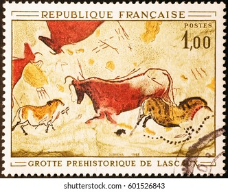 Milan, Italy - February 23, 2017: Prehistoric depictions of Lascaux on french postage stamp