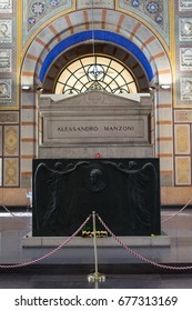 MILAN, ITALY - FEBRUARY 23, 2017: The interior of the main building of The Cimitero Monumentale (Monumental Cemetery) with Alessandra Manzoni's tomb. It is one of the two largest cemeteries.