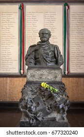 MILAN, ITALY - FEBRUARY 23, 2017: The statue of Giuseppe Verdi, the italian most famous opera composer, at the monumental cemetery hall.