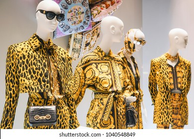 Milan, Italy - February 23, 2018: Versace products in detail in a store in Milan