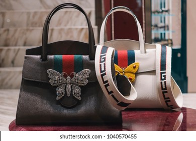 Milan, Italy - February 23, 2018: Gucci bags in a store in Milan - Luxury shopping concept