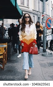Milan, Italy - February 23, 2018: Fashionable appearances of influencers during Milan Fashion Week.
