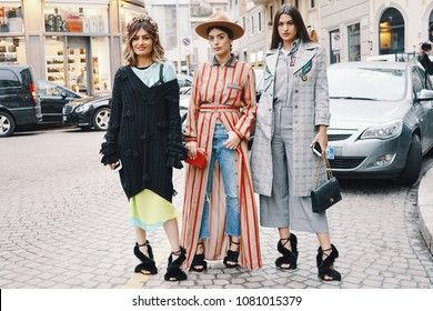 Milan, Italy - February 23, 2018: Models, bloggers and influencers with fashionable and stylish looking during Milan Fashion Week.