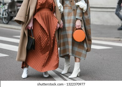 Milan, Italy - February 23, 2019: Street style detail after a fashion show during Milan Fashion Week - MFWFW19