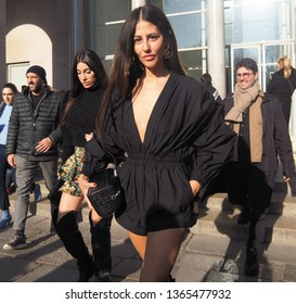 MILAN, Italy: February 23, 2019: Gilda Ambrosio in street style outfit after Philosophy di Lorenzo Serafini fashion show during milano fashion week fall/winter 2019/2020.