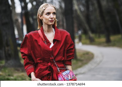 Milan, Italy - February 23, 2019: Street style – Influencer Leonie Hanne after a fashion show during Milan Fashion Week - MFWFW19