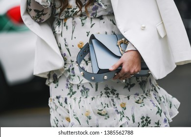 Milan, Italy - February 23, 2019: Street style – Purse detail after a fashion show during Milan Fashion Week - MFWFW19