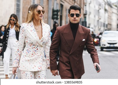 Milan, Italy - February 23, 2019: Street style – Outfits before a fashion show during Milan Fashion Week - MFWFW19