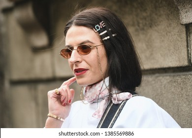 Milan, Italy - February 23, 2019: Street style – Hairstyle after a fashion show during Milan Fashion Week - MFWFW19