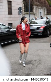 Milan, Italy - February 23, 2019: Street style outfits during Milan Fashion Week - - MFW19/20