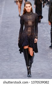 MILAN, ITALY - FEBRUARY 23: Grace Elizabeth walks the runway at the Roberto Cavalli show at Milan Fashion Week Autumn/Winter 2019/20 on February 23, 2019 in Milan, Italy.