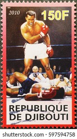 Milan, Italy - February 24, 2017: Boxer Muhammad Ali on postage stamp