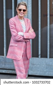 MILAN, ITALY - FEBRUARY 24, 2018: Stylish person Maria Helena Bordon Meirelesposing  outside Armani during Milan Fashion Week Fall/Winter 2018/19 on February 24, 2018 in Milan, Italy.