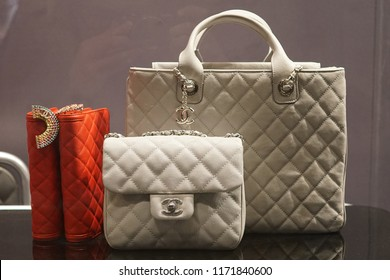 19e131acec30 Milan, Italy - February 24, 2018: Chanel bags in a store in Milan