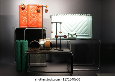 Milan, Italy - February 24, 2018: Chanel luxury products in a store in Milan - Luxury shopping concept