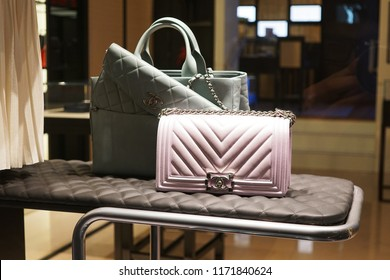 Milan, Italy - February 24, 2018: Chanel bags in a store in Milan - Luxury shopping concept