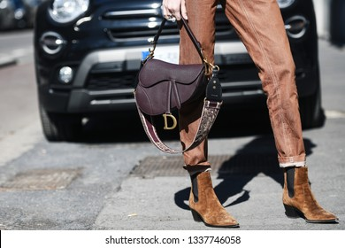 Milan, Italy - February 24, 2019: Street style – detail of a Christian Dior purse after a fashion show during Milan Fashion Week - MFWFW19