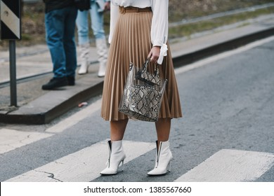 Milan, Italy - February 24, 2019: Street style – Purse detail before a fashion show during Milan Fashion Week - MFWFW19
