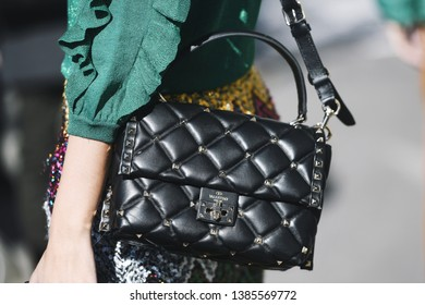 Milan, Italy - February 24, 2019: Street style – Valentino purse detail before a fashion show during Milan Fashion Week - MFWFW19