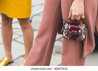 115b1773 MILAN, ITALY - FEBRUARY 24: Detail of bag outside Gucci fashion show  building for