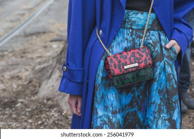 b4501c36 MILAN, ITALY - FEBRUARY 25: Detail of bag outside Gucci fashion show  building for