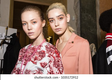 MILAN, ITALY - FEBRUARY 25: Gorgeous models pose in the backstage just before Stella Jean show during Milan Women's Fashion Week on FEBRUARY 25, 2018 in Milan.
