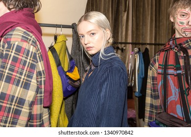 MILAN, ITALY - FEBRUARY 25: Gorgeous model poses in the backstage just before Alexandra Moura show during Milan Women's Fashion Week on FEBRUARY 25, 2019 in Milan.