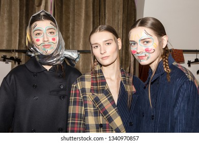 MILAN, ITALY - FEBRUARY 25: Gorgeous models pose in the backstage just before Alexandra Moura show during Milan Women's Fashion Week on FEBRUARY 25, 2019 in Milan.