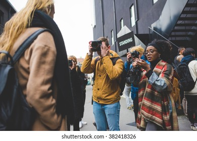MILAN, ITALY - FEBRUARY 26, 2016: Fashionable woman model in the streets during Milan Fashion Week Women Fall/Winter 2015/2016