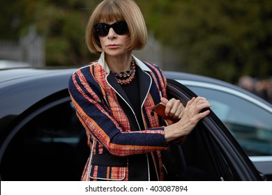 MILAN, ITALY - FEBRUARY 26, Anna Wintour arrives at Tod's fashion show, Milan Fashion Week Fall/Winter 2016