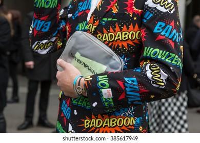 MILAN, ITALY - FEBRUARY 26: Detail of bag outside Emporio Armani fashion show during Milan Women's Fashion Week on FEBRUARY 26, 2016 in Milan.