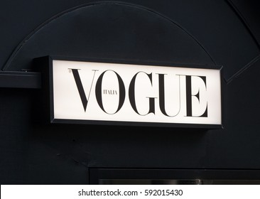Milan, Italy - February 27, 2017: Italian Vogue logo on a newspaper kiosk. Vogue one of most important fashion magazines.