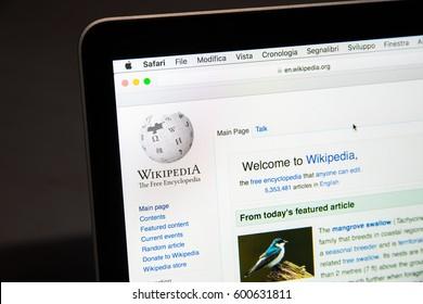 Milan, Italy - February 27, 2017: Wikipedia website on laptop screen. Wikipedia.org logo