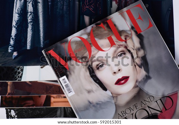 Milan, Italy - February 27, 2017: Italian Vogue magazines. Vogue one of most important fashion magazines.