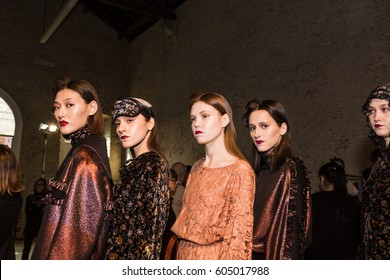 MILAN, ITALY - FEBRUARY 27: Gorgeous models pose in the backstage just before Alberto Zambelli show during Milan Women's Fashion Week on FEBRUARY 27, 2017 in Milan.