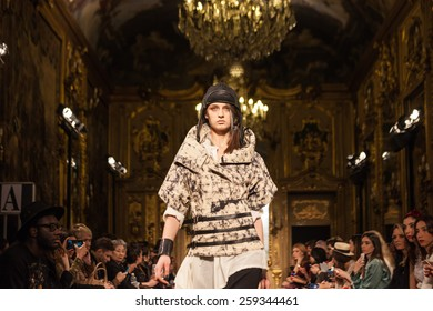 MILAN, ITALY - FEBRUARY 27: A model walks the runway at the Nicholas K show during the Milan Fashion Week Autumn/Winter 2015/2016 on February 27, 2015 in Milan, Italy.