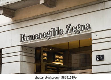 Milan, Italy - February 28, 2017: Shop window of a Zegna shop in Milan - Montenapoleone area, Italy. Few days after Milan Fashion Week. Spring Summer 2017 Collection. Zegna logo