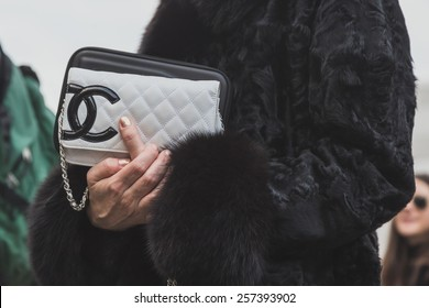 MILAN, ITALY - FEBRUARY 28: Detail of bag outside Gabriele Colangelo fashion show building for Milan Women's Fashion Week on FEBRUARY 28, 2015  in Milan.